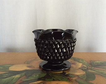 Black Glass Bowl Pedestal Milkglass Vintage