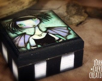 Kismet - Small Hand painted keepsake wooden box