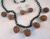Walnut Charms Necklace and Earrings Set - Black Lucite Chain - Vintage 40s 50s Inspired Jewelry - Handmade Mid Century Style