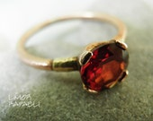Ready to ship ring, Engagement Ring, Rose gold ring, Minimalist Ring, Vintage Inspired, Garnet and Gold Ring