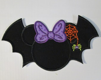 Halloween Bat with Spider Web - Iron On or Sew On Embroidered Applique