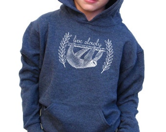 Boys Hoody - Sloth Design - Available in S, M, L, XL - 5yo, 6yo, 7yo, 8yo, 9yo, 10, yo, 11yo, 12yo