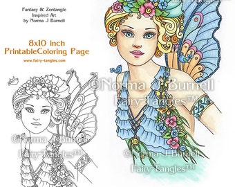 Fairy Fay Song Fairy Printable Coloring Book Pages &  Sheets by Norma J Burnell Fairies Adult Coloring for Grownups Digital Coloring Files
