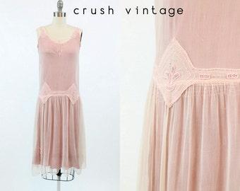 20s Vintage Dress Beaded Silk XS / 1920s Vintage Dress Sheer Pink / Anastasia Dress