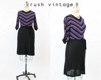 80s Dress Knit Medium Large / 1980s Vintage Sweater Dress / Chevron Stripes Dress