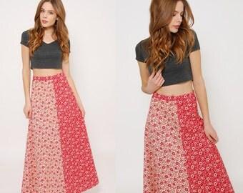 Vintage 70s FLORAL Maxi Skirt MIXED Print Hippie Skirt Cotton Boho Skirt PATCHWORK Maxi Skirt