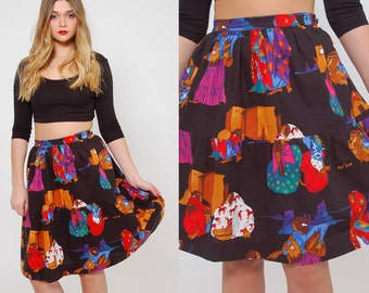 Vintage 80s SOUTHWESTERN Skirt NATIVE AMERICAN Print A Line Skirt Boho Skirt Novelty Print Skirt