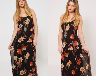 Vintage 90s Black FLORAL Maxi Dress Sleeveless Sundress Boho Maxi Dress