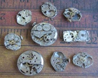 Featured - Steampunk supplies - Watch movement parts - Vintage Antique Watch parts Steampunk - Scrapbooking j9
