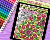 Designs with Depth - Pretty Patterns & Mandalas - Adult Coloring Book - 40 pages - Instant Download