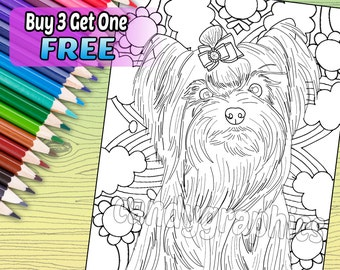 Yorkie - Adult Coloring Book Page - Printable Instant Download