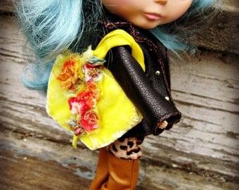 PATTERN Blythe Doll Bag - Designer Pattern/Tutorial PDF for Hand-Dyed Little 1/6 Velvet Bag with Flower Embellishment  by Cindy Sowers