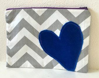 Zipper Pouch/ Gray Chevron/ Makeup bag/ Handbag Accessory