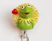 I Heart Kermit The Frog ID Badge Reel - RN ID Badge Holder - Zipperedheart