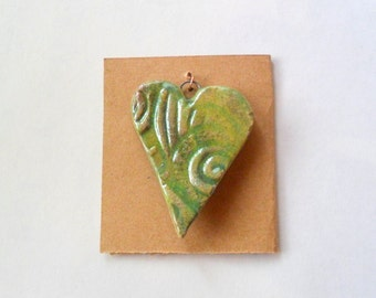 Lg. Chartreuse or Lime Green Heart Pendant Finding in Raku Fired Clay