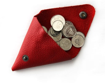 Triangle Coin Purse; Leather Coin Purse; Coin Purse; Double Coin Purse; Red