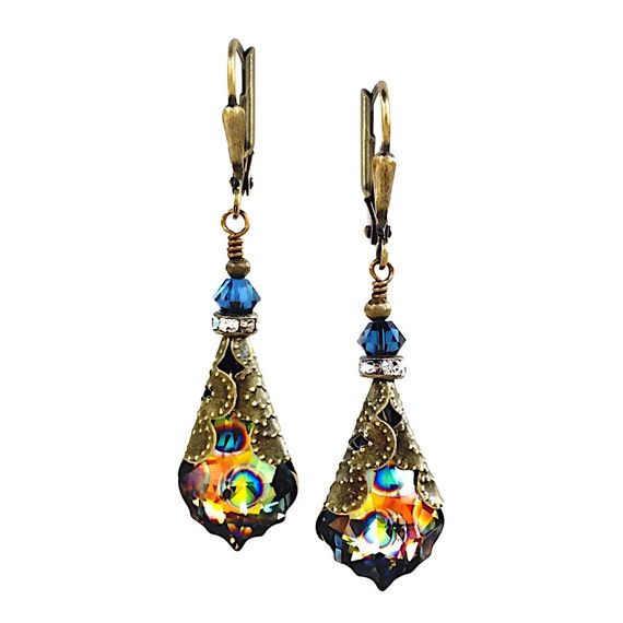 Swarovski Crystal Earrings, Peacock Baroque, Antique Bronze, Dangle