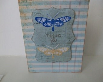 Butterfly Card, Handmade Thinking of You Card, Blue and Brown Butterfly Card, Handstamped Butterfly Card