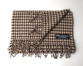 vintage Houndstooth Cashmere Scarf with Fringe / Brown and Cream Houndstooth Cashmere Scarf / Made in Scotland