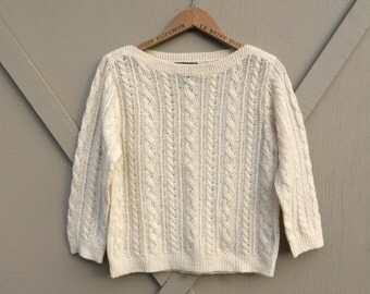 90s vintage Ralph Lauren Ivory Mohair Blend Airy Cable Knit Sweater