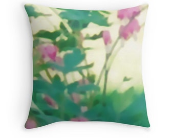 Flowers Throw Pillow  with Insert, 16x16, Pink and Green Garden Decor, Mothers Day Gift