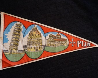 Rare Vintage Pisa Italy Souvenir Pennant with leaning tower of Pisa