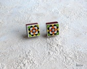 Portugal Antique Azulejo Tile Replica Post Stud Earrings - Belem, Lisboa  (see photo of facade)  Green Orange Yellow 519