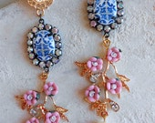 Portugal Antique Azulejo Tile Replica Dangle Earrings from BRAGA  BLUE with Pink Flowers - Majolica Baroque (see actual Facade photo) 707