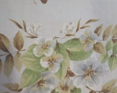 """Vintage Flat Sheet Floral and butterflies pale blue background green tan grey design 80 x 94"""" fits a queen"""