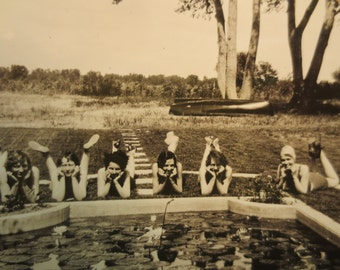 Vintage Photo girlfriends posing bathing suits with a pool or cement pond girlfriends BFFs 1930s americana history