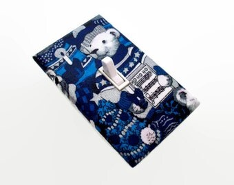 SALE Christmas Bear Light Switch Cover -  Christmas Home Decor - Holiday Wall Decorations Switch Plate - Blue Silver Christmas Bear Switch