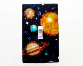 Planets Light Switch Cover - Outer Space Switch Plate - Saturn Switch Plate Cover - Childrens Room Decor - Space Bedroom - Boys Planet Decor
