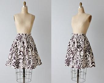 Vintage 1960s Skirt / 60s Skirt / Black and White  Skirt / Novelty Print Skirt / Midi Skirt