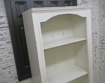Bookcase, Distressed White Cottage Style CB901 Shabby Vintage Farmhouse Chic, Book Shelf