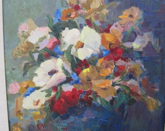 Oil on Board Mid Century Floral Still Life by Listed Artist  Bright Colorful Blues, Reds, Yellow and White