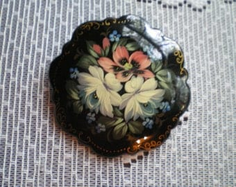 Vintage Acrylic Black Brooch with Pretty Pink and White Flowers