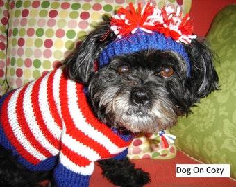 Hand Knit Dog Sweater, Handmade Pet Sweater, Size XSMALL, All American Striped Sweater