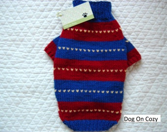 Striped Dog Sweater, Full Length Pet Sweater, Hand Knit, Size SMALL, Nordic Stripe Blue/Red