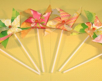 NEW - Paradise Brites Pinwheel Collection  (Qty 12)  Pinwheels, Decorative Pinwheels, Table Top Centerpieces