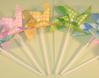 NEW - Pastel Polka Dot & Striped Pinwheel Collection  (Qty 12)  Pinwheels, Decorative Pinwheels, Table Top Center Pieces, Party Props