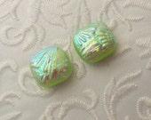 Green Earrings - Dichroic Fused Glass Earrings - Dichroic Earrings - Bead Findings - Stud Earrings - Post Earrings 1702