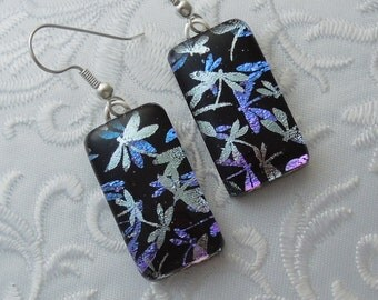 Dichroic Fused Glass Earrings - Glass Earrings - Dichroic Earrings - Dichroic Jewelry - Cute Earrings - Dragonfly Earrings X7299