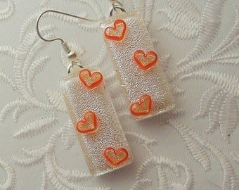 Heart Earrings - Valentine Earrings - Dichroic Fused Glass Earrings - Heart Jewelry - Stick Earrings - Heart - Orange Earrings X3168