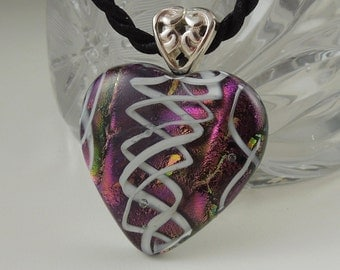 Bohemian Necklace - Boho - Dichroic Fused Glass Pendant - Heart Pendant - Dichroic Glass - Fused Glass - Mosaic - Heart Necklace X8787