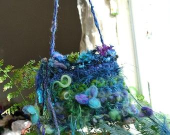 enchanted faerie bag art yarn fantasy shoulder bag  -  evening bird nest bag