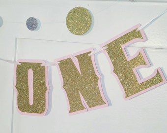 I AM ONE Highchair Banner, Pink and Gold Highchair Banner, Pink and Gold I Am One Banner, 1st Birthday Banner, Smash Cake Photo Prop