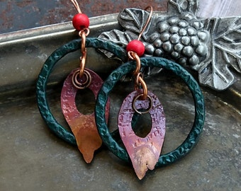 Primitive Celtic Copper Hoop Earrings, Hammered Jewelry