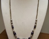 CLOSING SALE Silver and Purple Pearl Necklace