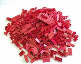 Lego Bricks, Large Lot of Red Bricks, Over 350 Pieces, 1 Lb. 7 Oz.