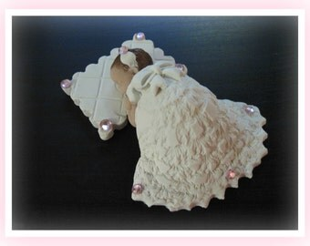 Polymer Clay Baby Cake Topper or Craft 4.5  inches Long on Pillow